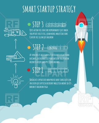 320x400 Rocket Ship Launch. Smart Startup Strategy Vector Image Vector
