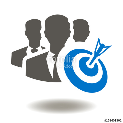 500x500 Team Target Business Success Strategy Vector Icon. Goal People