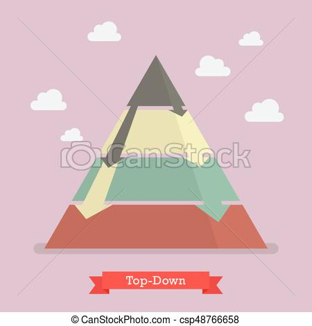 450x470 Top Down Pyramid Business Strategy. Vector Illustration.