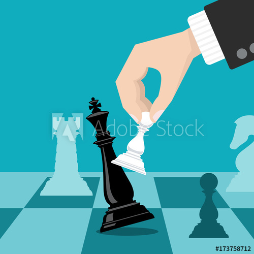500x500 Business Checkmate Strategy Vector Concept With Hand Holding Chess