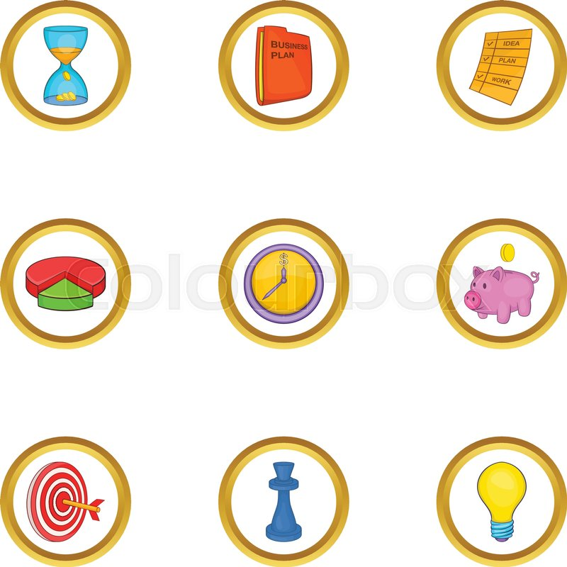 800x800 Business Strategy Icon Set. Cartoon Style Set Of 9 Business