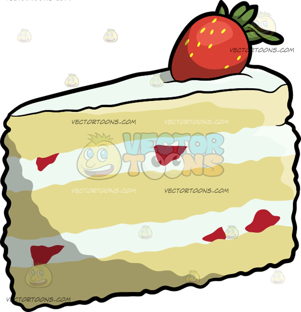 989x1024 A Slice Of Strawberry Shortcake Clipart By Vector Toons