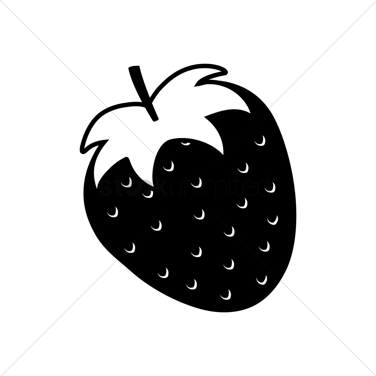 1300x1300 Silhouette Of Strawberry Vector Image