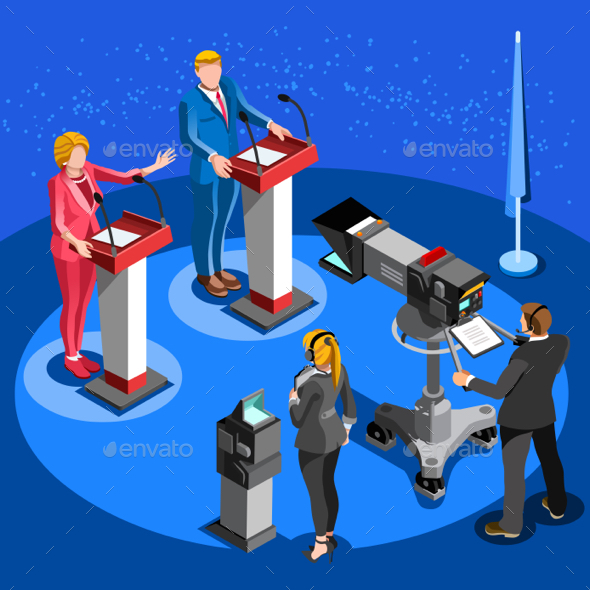 590x590 Election News Infographic Live Stream Vector Isometric People By