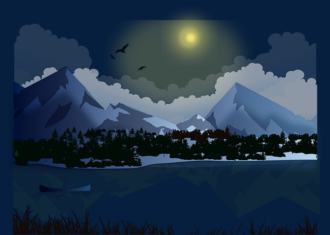 650x462 Mountain Stream Vector, Mountain Vector, Night, Moonlight Png And