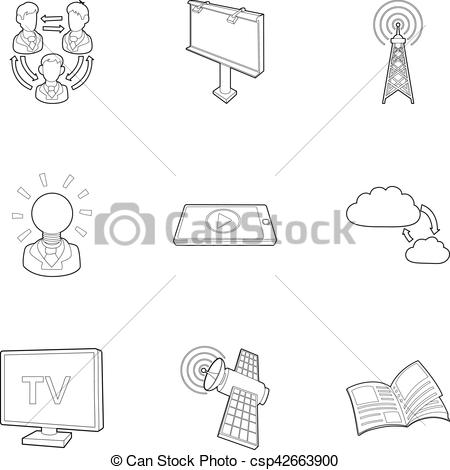450x470 Stream Icons Set, Outline Style. Stream Icons Set. Outline