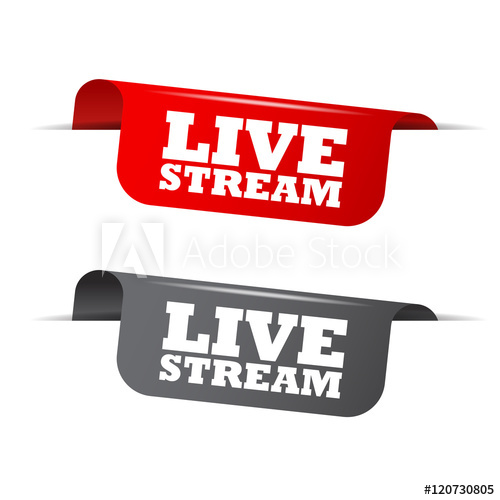 500x500 Live Stream, Red Banner Live Stream, Vector Element Live Stream