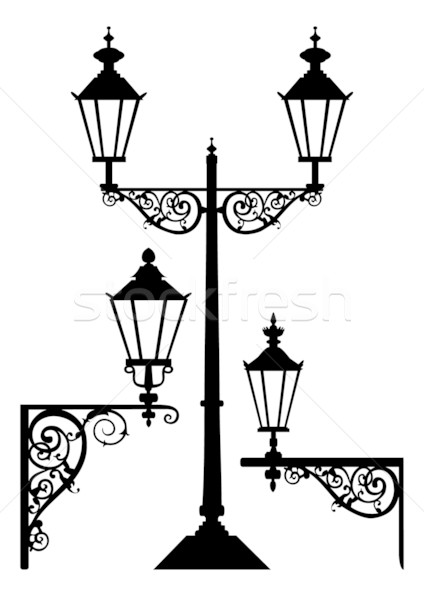 424x600 Set Of Antique Street Light Lamps Vector Illustration Ela