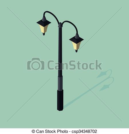 450x470 3d Isometric Vector Illustration Of Street Lamp.