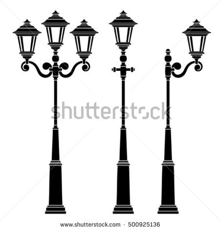 450x470 Street Lamps Set Stock Vector Throughout Ideas