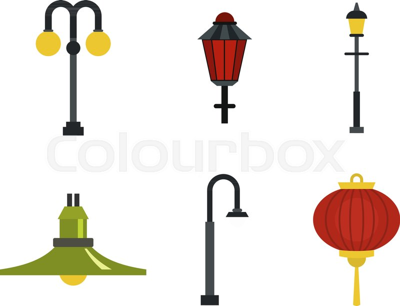800x611 Street Lamp Icon Set. Flat Set Of Street Lamp Vector Icons For Web