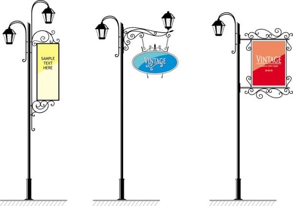 600x422 Beautiful Street Lamp Vector Material My Free Photoshop World