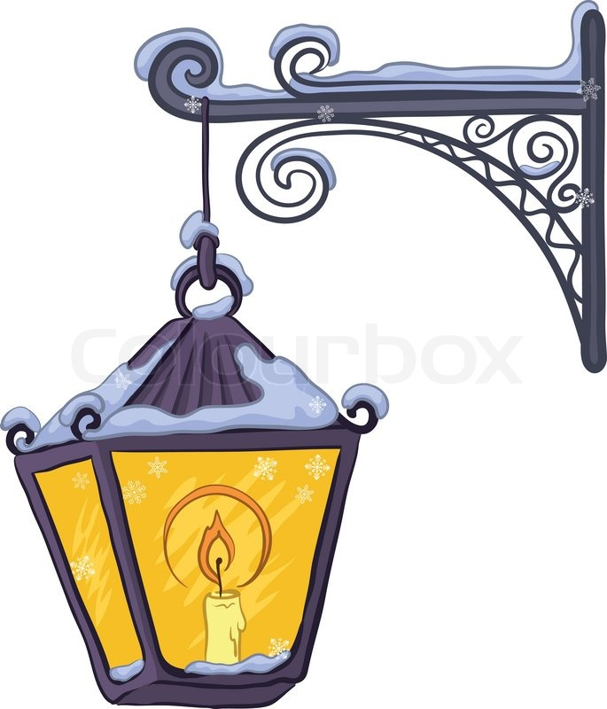 685x800 Vintage Street Lamp Glowing In The Snow, Hanging On A Decorative