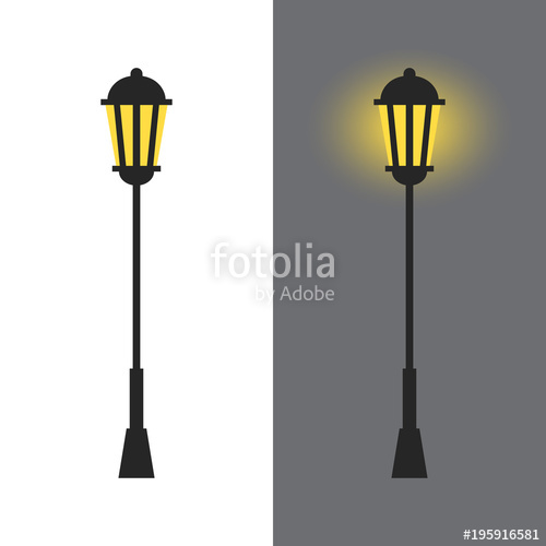 500x500 Vintage Street Lamp Silhouette With Light Isolated On White And