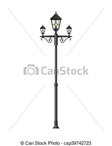 360x470 Light Pole Street Lamp Isolated On White Background. Vector