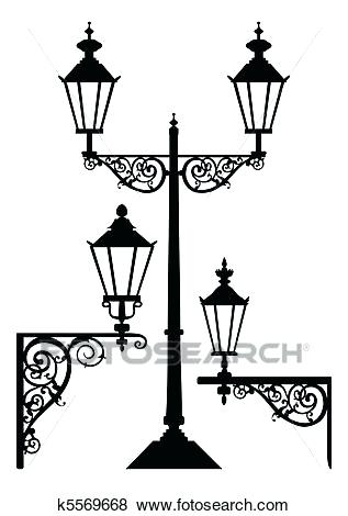 317x470 Street Lamp Silhouette Set Of Street Lights Lamps Vector Black
