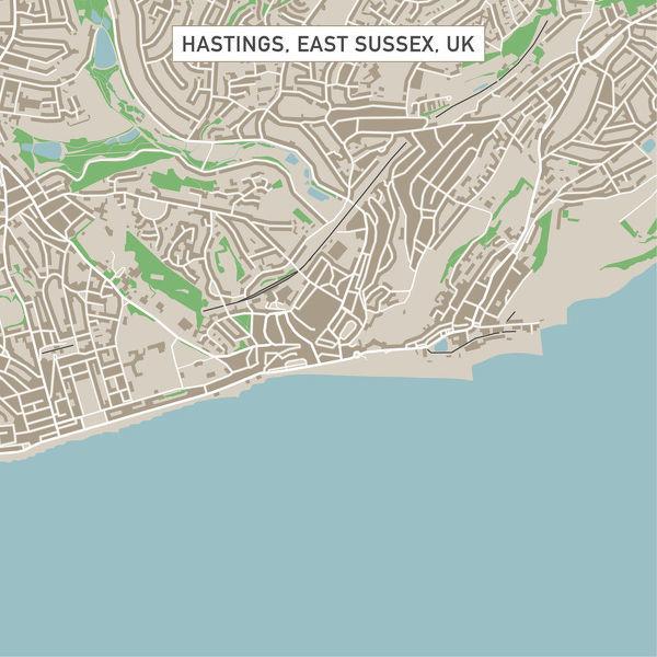 600x600 Hastings East Sussex Uk City Street Map