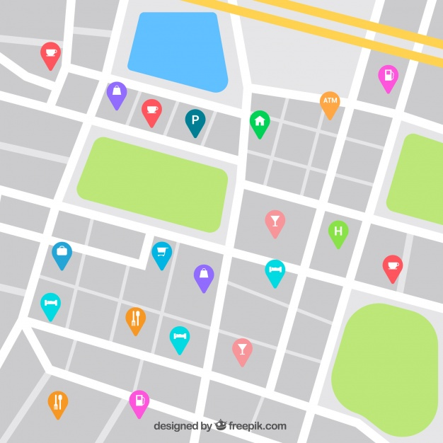 626x626 Street Map Desing With Catering Sector Pins Vector Free Download