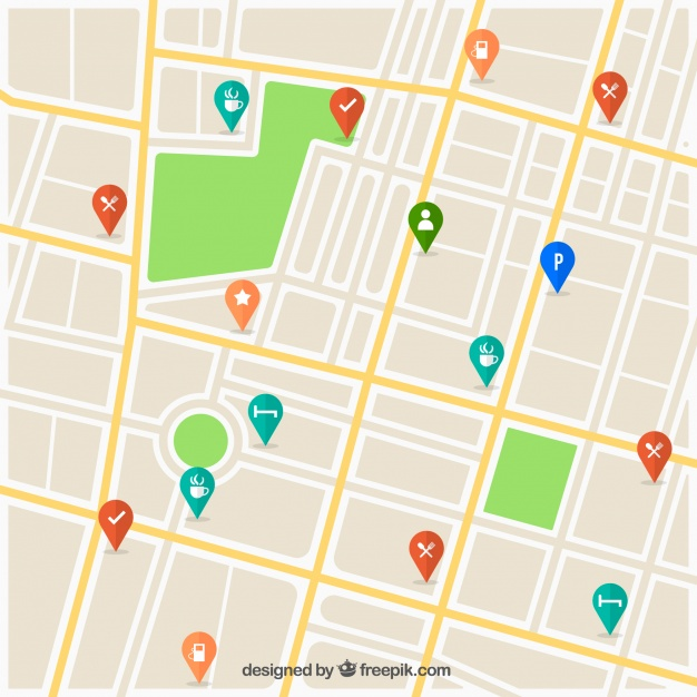 626x626 Street Map With Pins Design Vector Free Download