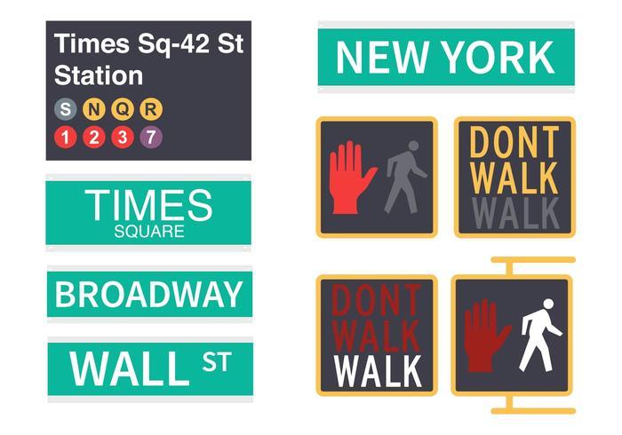 700x490 New York Street Signs Vector