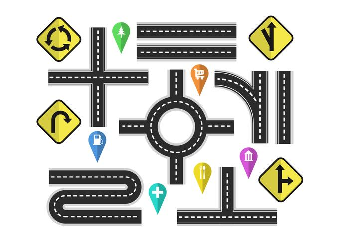 700x490 Variation Roads With Street Signs Vector Elements
