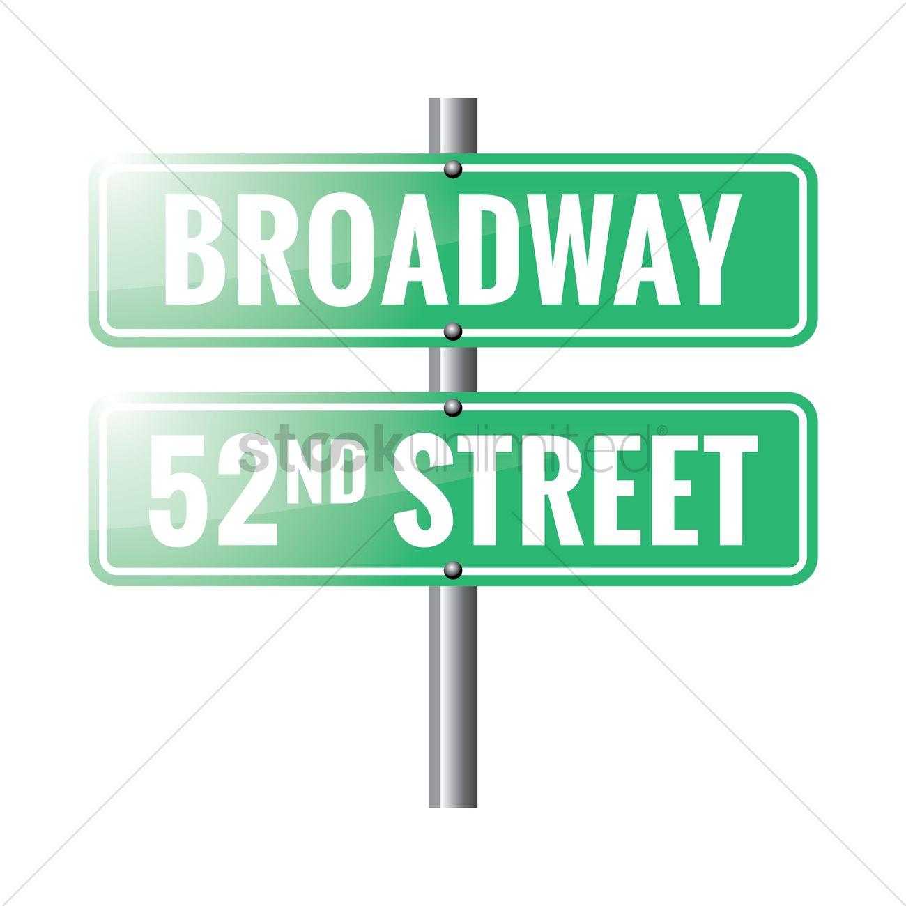 1300x1300 Broadway Road Sign Vector Image