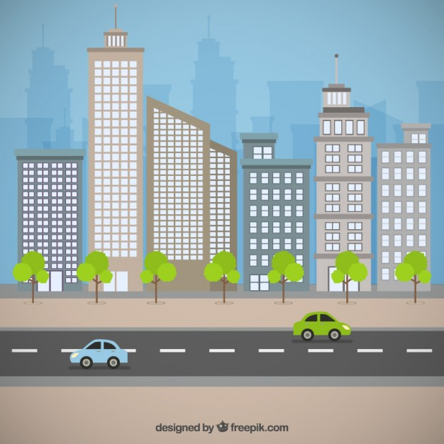626x626 City Street Vector Premium Download