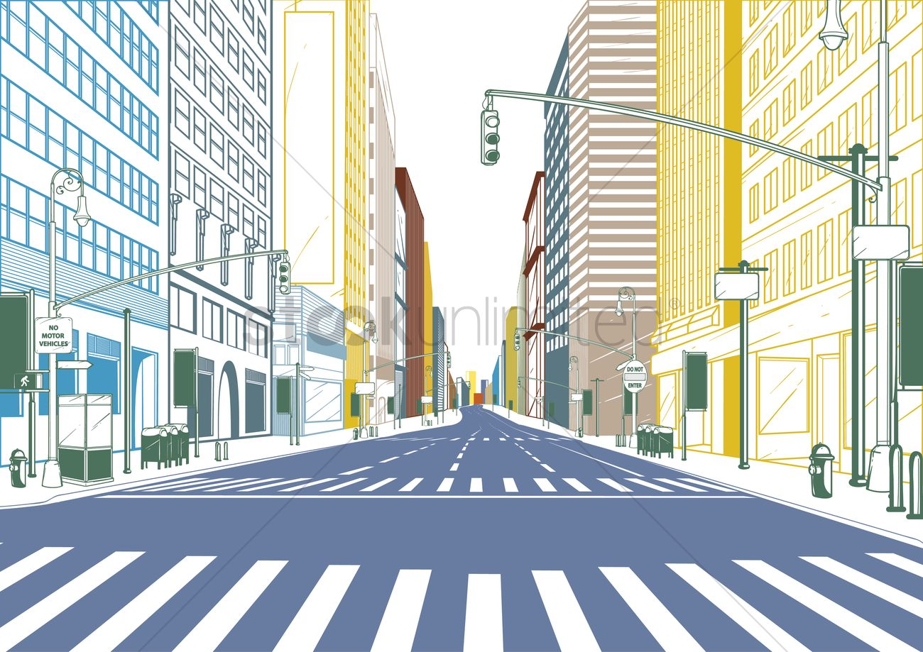 1300x919 City Street Vector Image