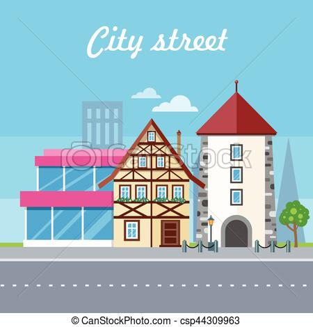 450x470 City Street Vector Illustration. Urban Landscape. City Street