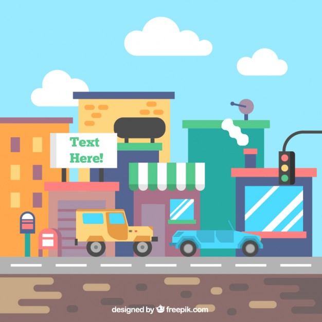626x626 Flat Colorful City Street Vector Free Download