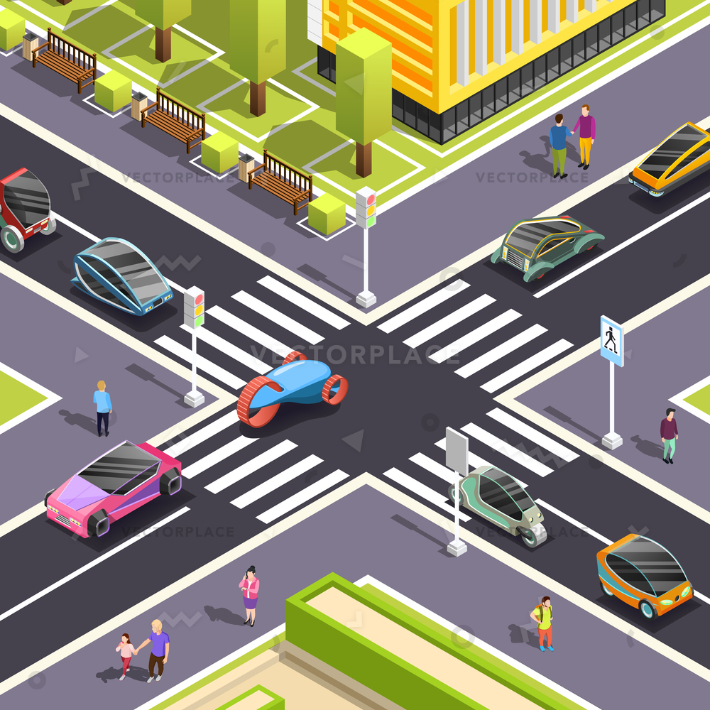 1000x1000 Fragment City Top View Crossroad Streets Vector Illustration 22000