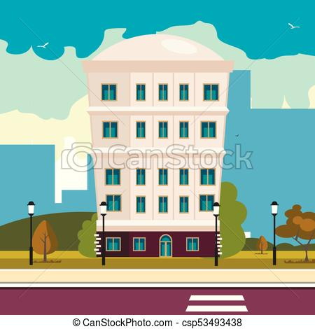 450x470 High Building On Street. Vector Illustration Flat Design.