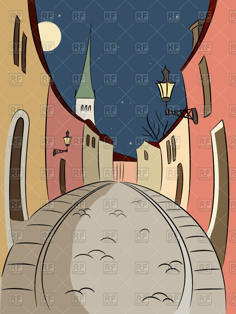 900x1200 Night Street Of Old Tallinn In Cartoon Style Vector Image Vector