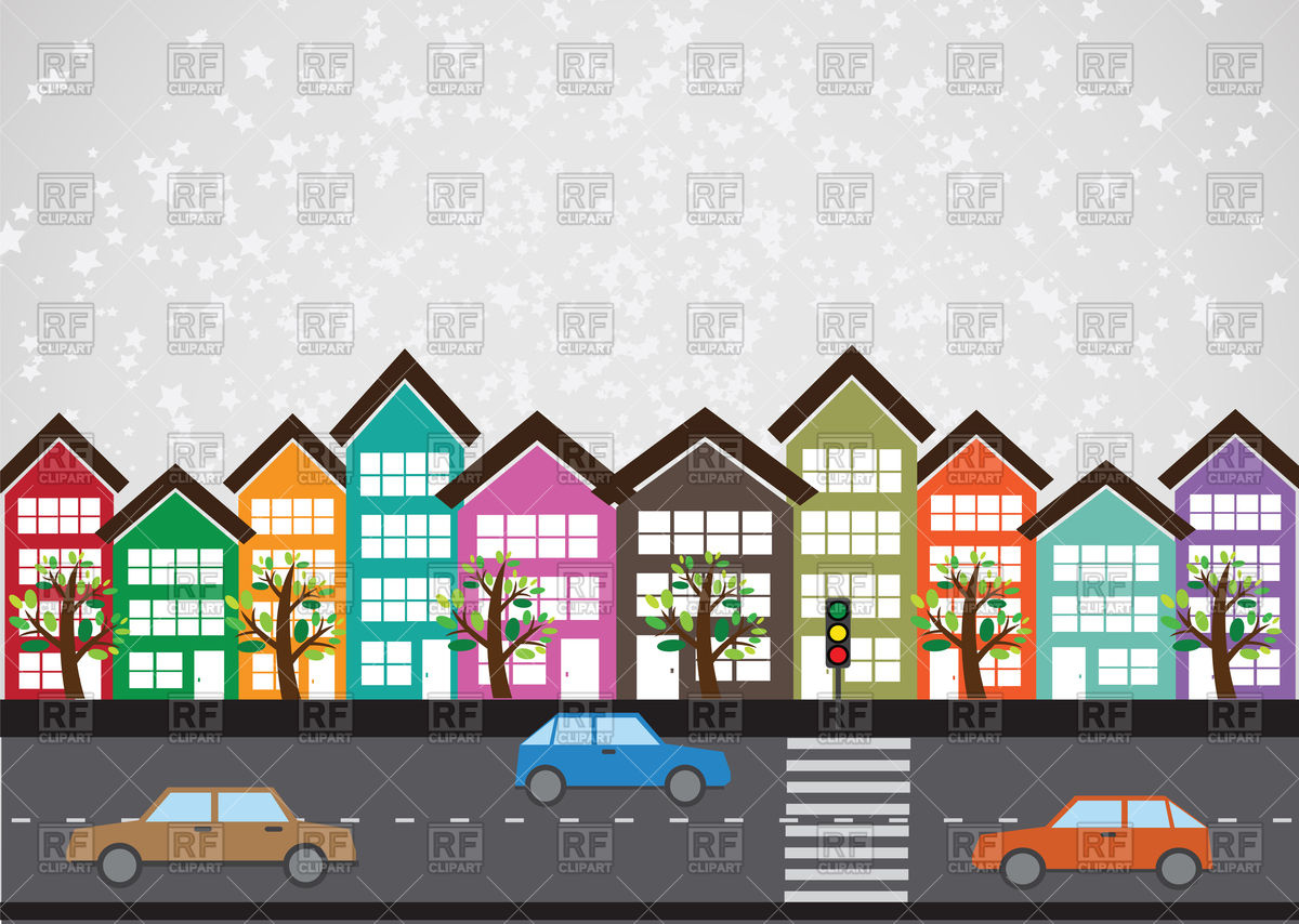 1200x854 Row Of Buildings On Street Vector Image Vector Artwork Of
