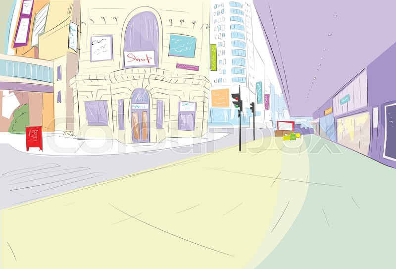 800x543 Street City View Draw Sketch Shops Colorful Buildings, Vector