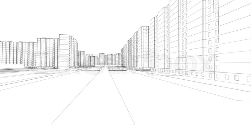800x400 Wire Frame Buildings And Street. Vector Illustration, 3d Render