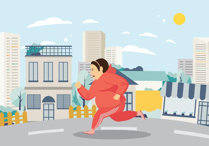 700x490 Woman Exercising And Running On The Street Vector