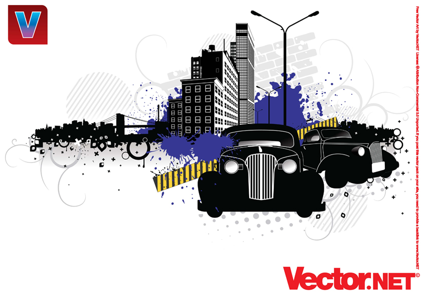 850x590 City Street Vector Art With Vintage Cars