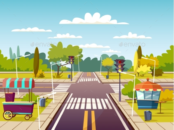 590x442 City Street Vector Cartoon Illustration Of Traffic By Vectorpouch