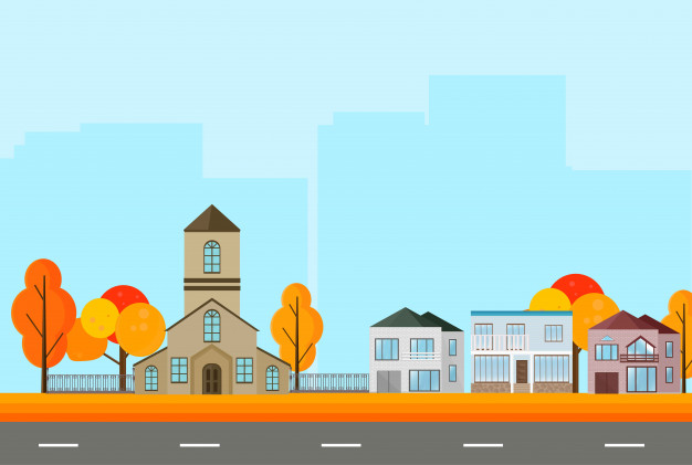 626x421 City Town Street View, Buildings In Autumn Season. Vector Mapple