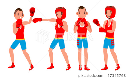 450x272 Boxer Player Vector. Strength Male Athlete