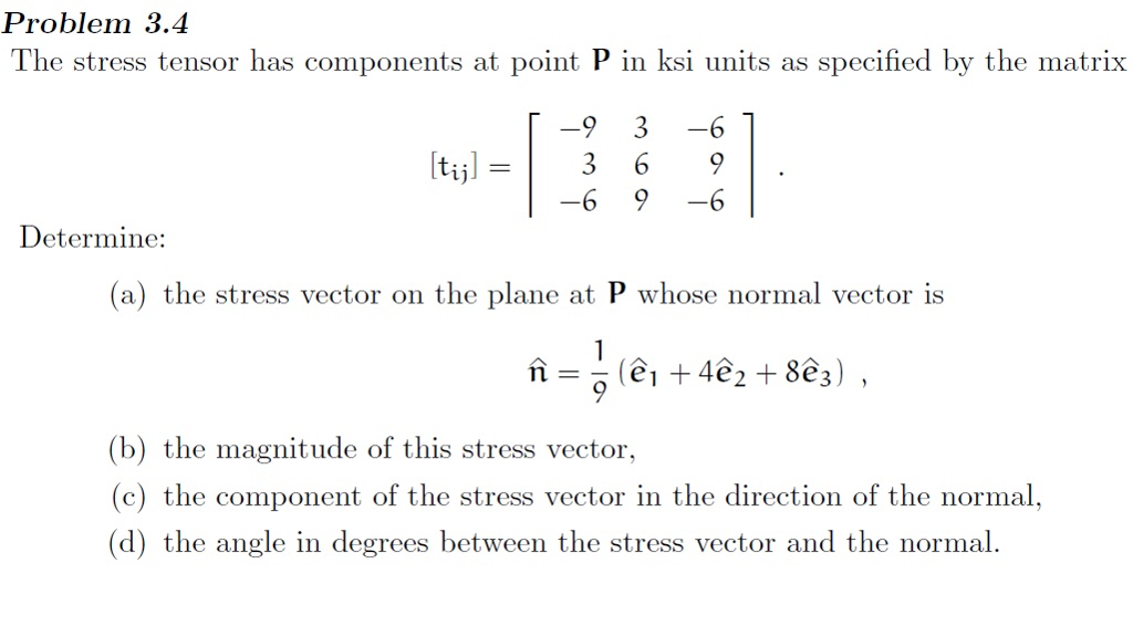 1024x566 Solved Problem 3.4 The Stress Tensor Has Components At Po