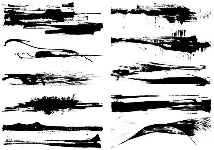 700x490 Dry Grunge Paint Stroke Vector Pack