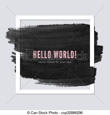 450x470 Paper Frame With Brush Stroke. Paper Frame For Your Text With Ink