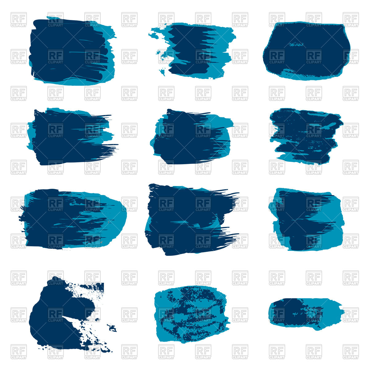 1200x1200 Set Of Blue Brush Stroke Vector Image Vector Artwork Of Icons