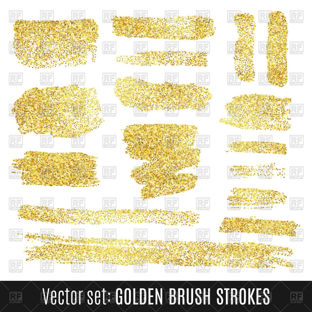 1200x1200 Set Of Golden Watercolor Brush Stroke Vector Image Vector