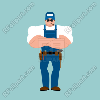 400x400 Plumber Strong On Blue Background Vector Image Vector Artwork Of