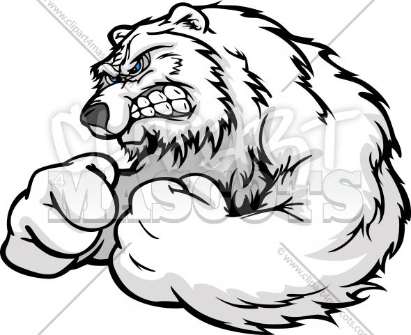 590x481 Strong Polar Bear Graphic Vector Cartoon