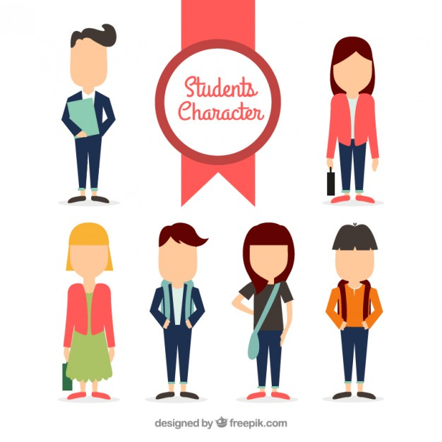 626x626 Student Character Collection Vector Free Download
