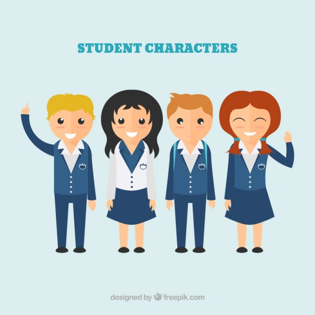 626x626 Student Characters Illustration Vector Free Download